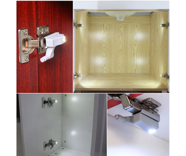 Coquimbo 2/5 Packs  Inner Hinge LED Sensor Under Cabinet Lights For Kitchen Bedroom Closet Wardrobe Night Light Battery Operated