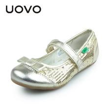 UOVO Neueste Mädchen Kleid Schuhe Kinder Party Schuhe Goldene Glitter Kinder Kleine Große Mädchen Schuhe Flache Schuhe