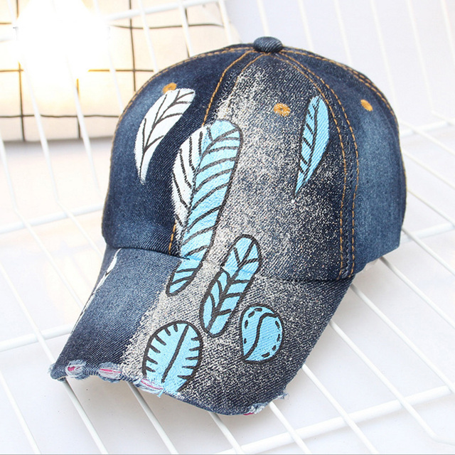Fashion New Men Women Novelty Baseball Cap Hand Painted Leaves Denim Hats  Print Skull Style Outdoor Girl Boy Sports Cap 8bfada322e7