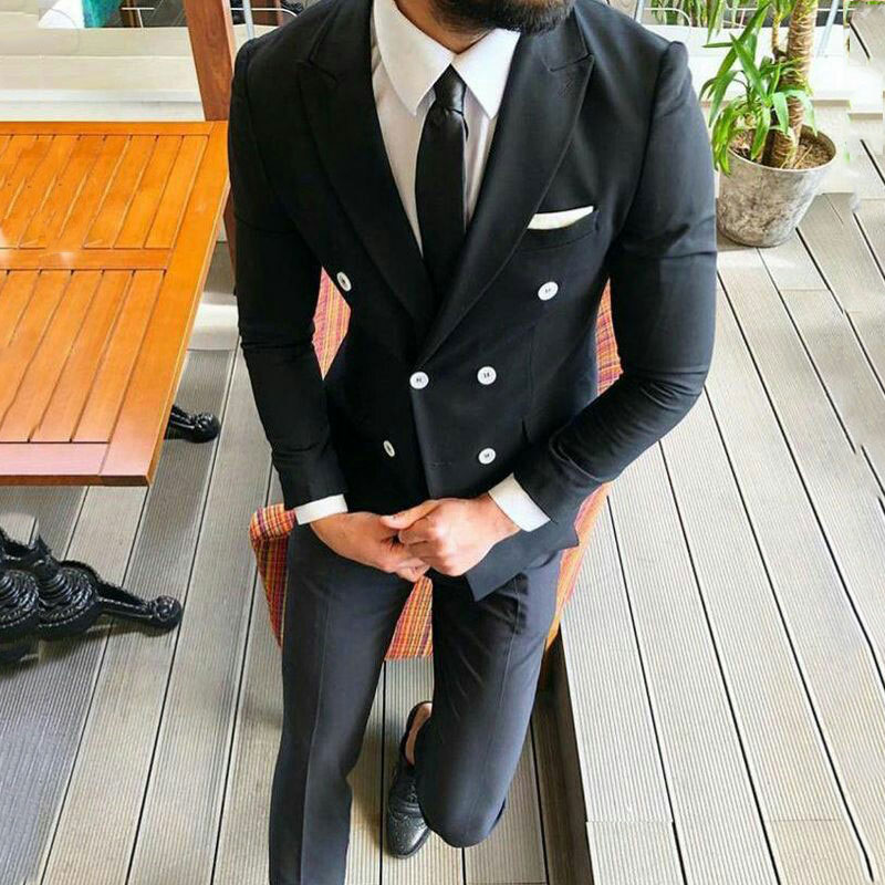 Black Men Suits With Pants Wedding Suits Double Breasted Casual Bridegroom Tuxedos Best Man Blazer 2pieces Terno Masculino