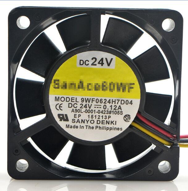 SANYO 9WF0624H7D04 Fan 60x60x15mm 24V 0.12A 3-PIN for FANUC A90L-0001-0423