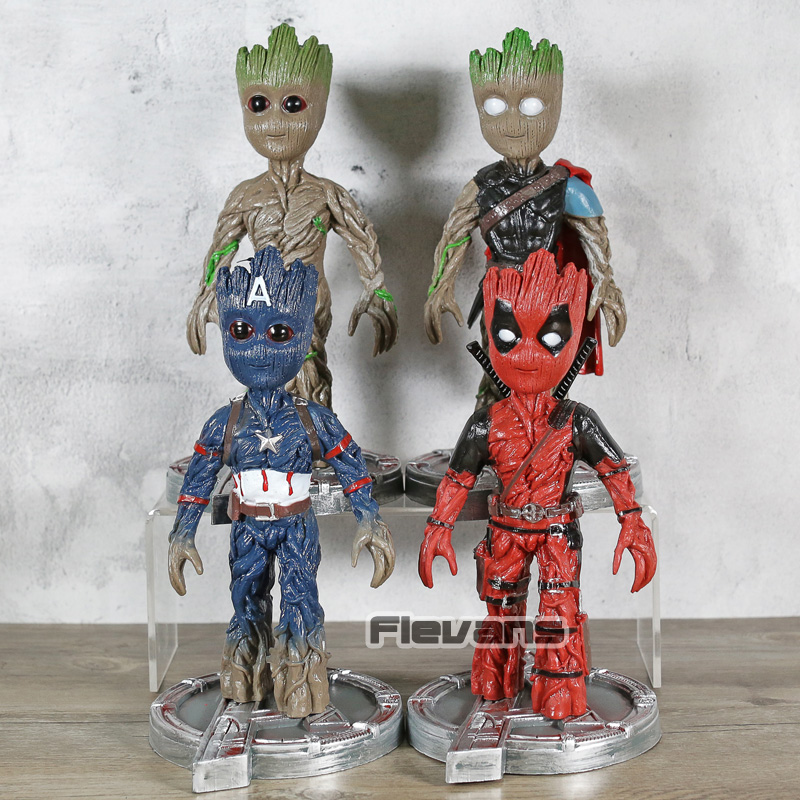 Marvel Comics Thor Deadpool Captain America Baby Tree Man PVC Figure Collectible Model Toy image