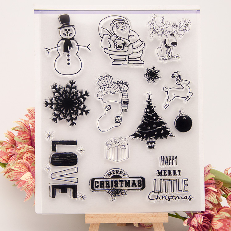 Scrapbook DIY photo cards rubber stamp clear stamp transparent stamp Purple abstract Santa Claus Christmas Pattern 14x18cm scrapbook diy photo cards account rubber stamp clear stamp finished transparent chapter wall decoration 15 18