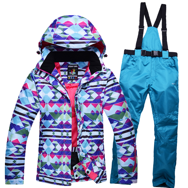 цена на winter outdoor sports ski jacket women windproof waterproof breathable warm jacket + trousers ski suits free shipping