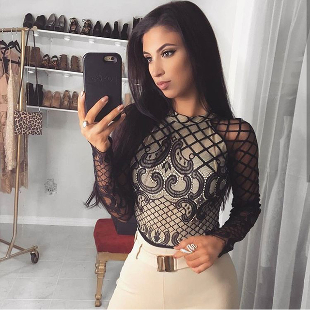 f69912dce5 Black Lace Bodysuit Full Sleeved Stand Neck Bodycon Hollow Out Night Club  Overalls Women Bodysuits Jumpsuit