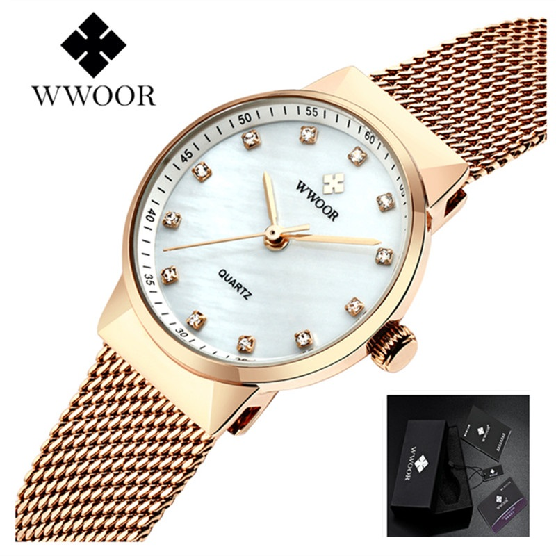 WWOOR Women Watches Bracelet Ladies Rose Gold Watch Women Stainless Steel Quartz Watch Waterproof Female Wristwatch bayan saat набор емкостей miralight прованс в корзине 0 3 л 3 шт lb14 08