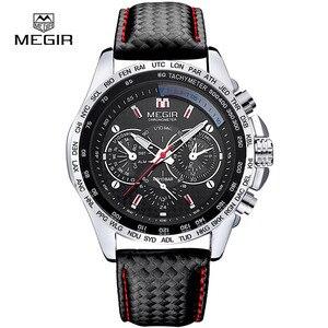 Image 3 - Megirホットファッション男のクォーツ腕時計ブランド防水レザー腕時計カジュアル腕時計男性1010