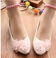 3CM heel Small low heel WHITE pink pumps shoes for woman, TG059 ankle beading pearls anklets straps bridal dance party pumps
