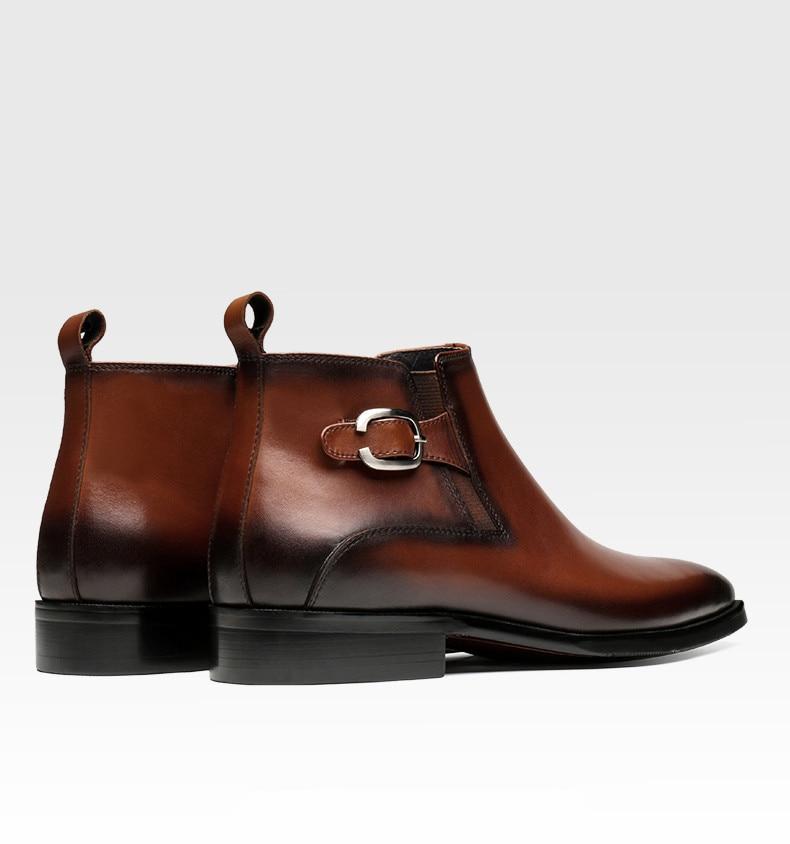 Moda Vestido Black Chelsea Masculinos Preto Sapatos De Botas Tan Genuíno Tornozelo Negócios Couro tan Homens brown wFwBxrq