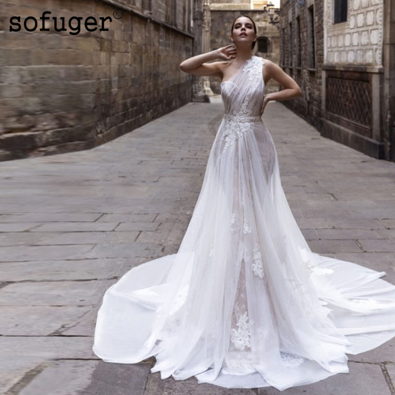 White One Shoulder Lace Appliques Pleat Wedding Dress Robe De Mariee Sofuge Boho Dubai Arabic Abiti Da Sposa Long Dresses