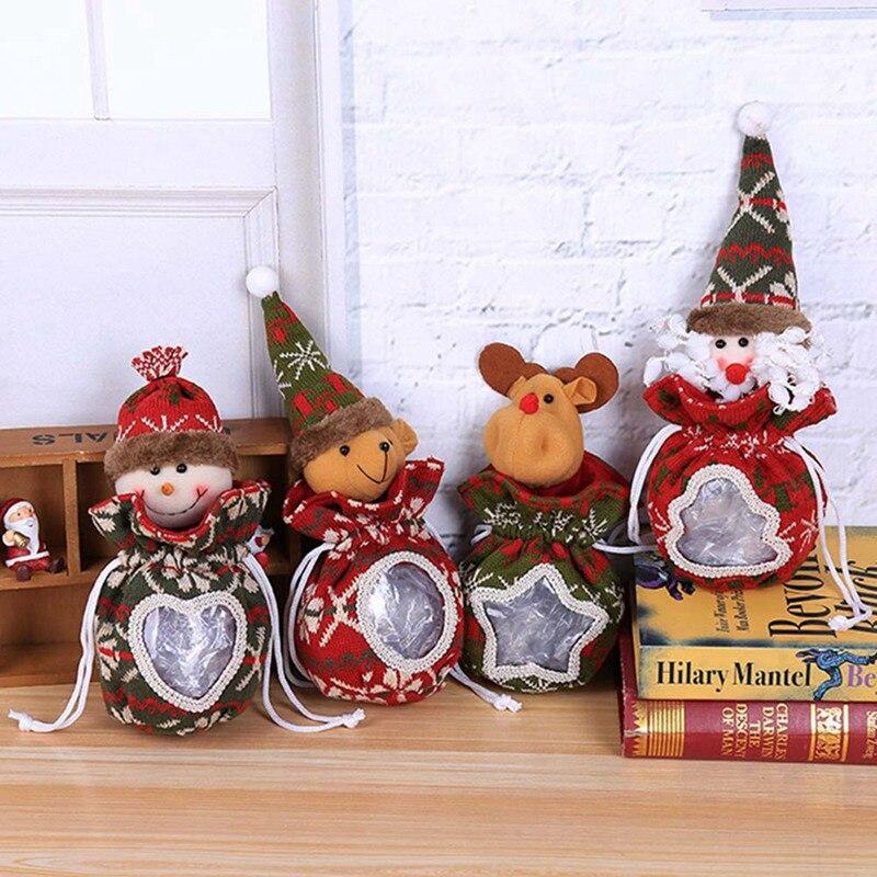 Old Man Christmas Gifts: 2019 Christmas Figurine Candy Bag Santa Snowman Apple Bag