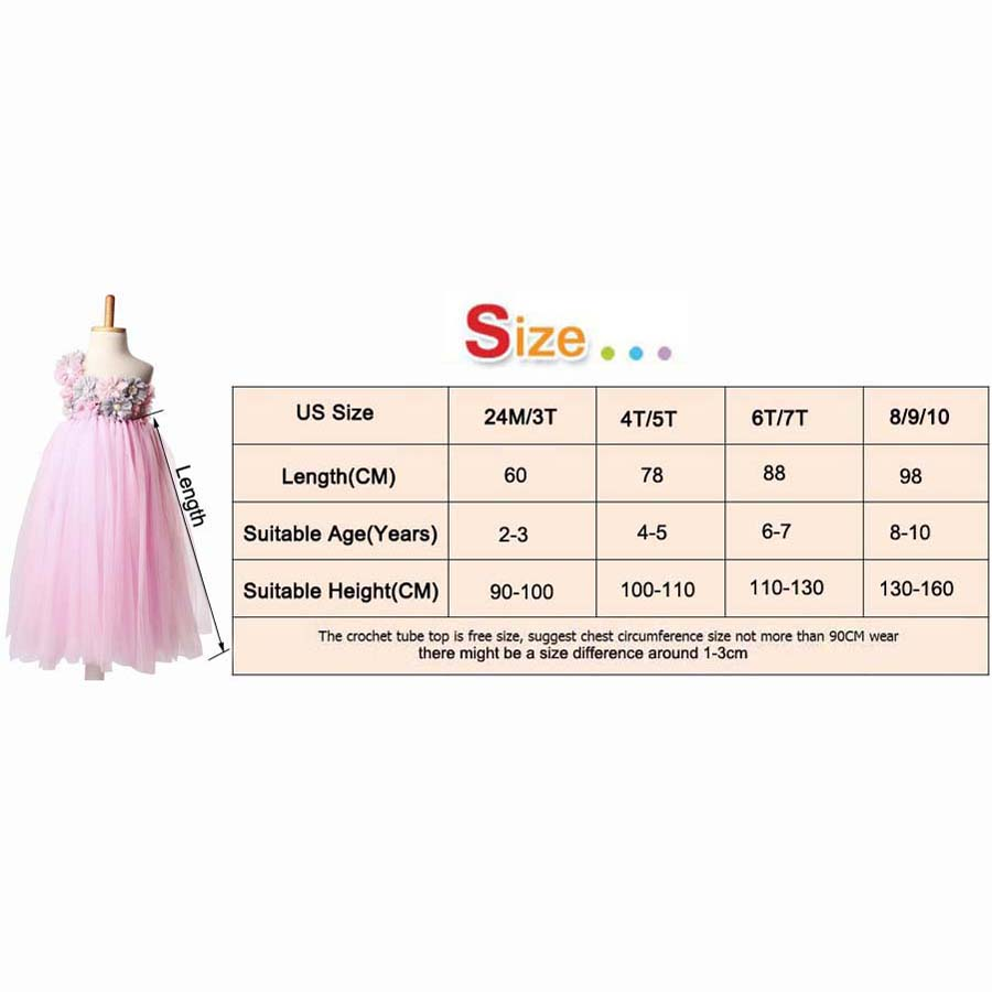 Light Pink Tulle Tutu Dress With Flowers For Girls Children Wedding