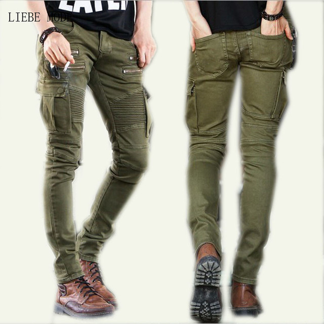 Military Style Designer Skinny Boot Cut Jeans Men Zipper ...