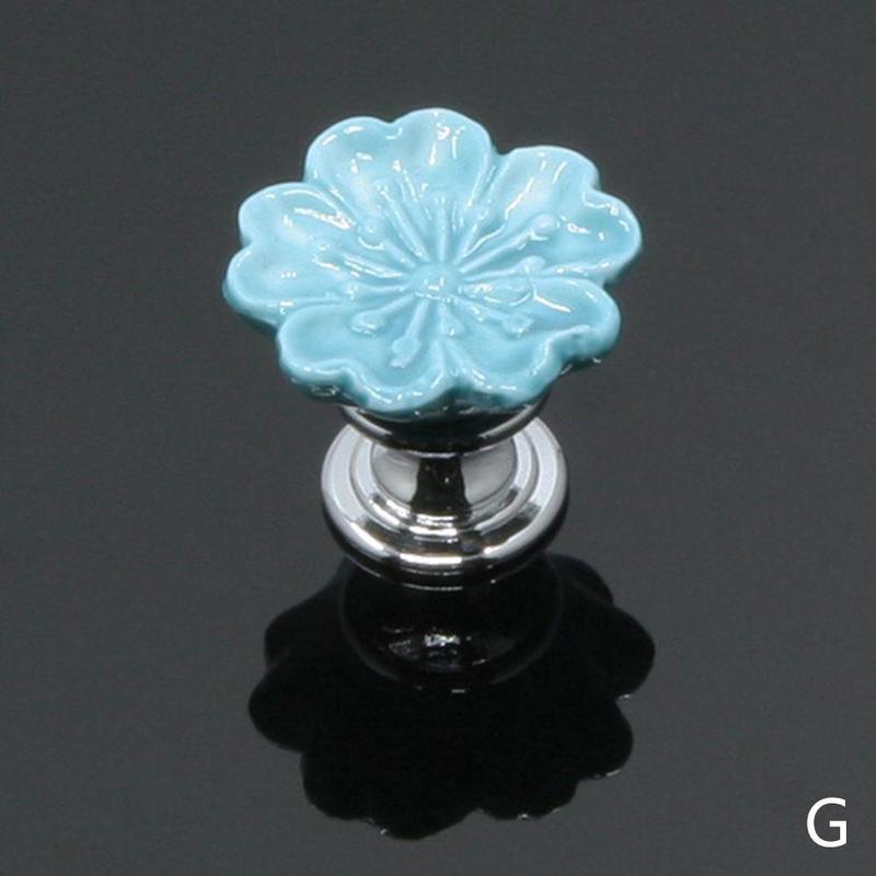 1 шт. Европейский стиль керамические Круглые цветочные ручки для шкафов, гардеробов, Кухня дверь в сад Слива фарфоровая ручка современного шкафа ручки - Цвет: Blue