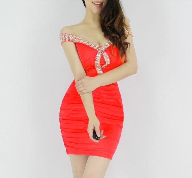 Europe Summer Mini Pencil Dress Pure Color V-neck Sleeveless Rhinestones Quality Dresses Slim Elegant Party Banquet Bodycon