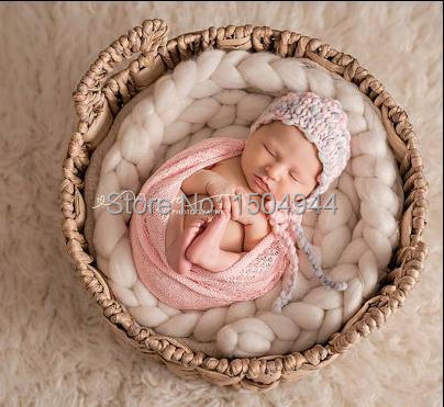 300 g / pc Lana Roving Basket Filler Fiber manta Basket Newborn - Ropa de bebé - foto 4