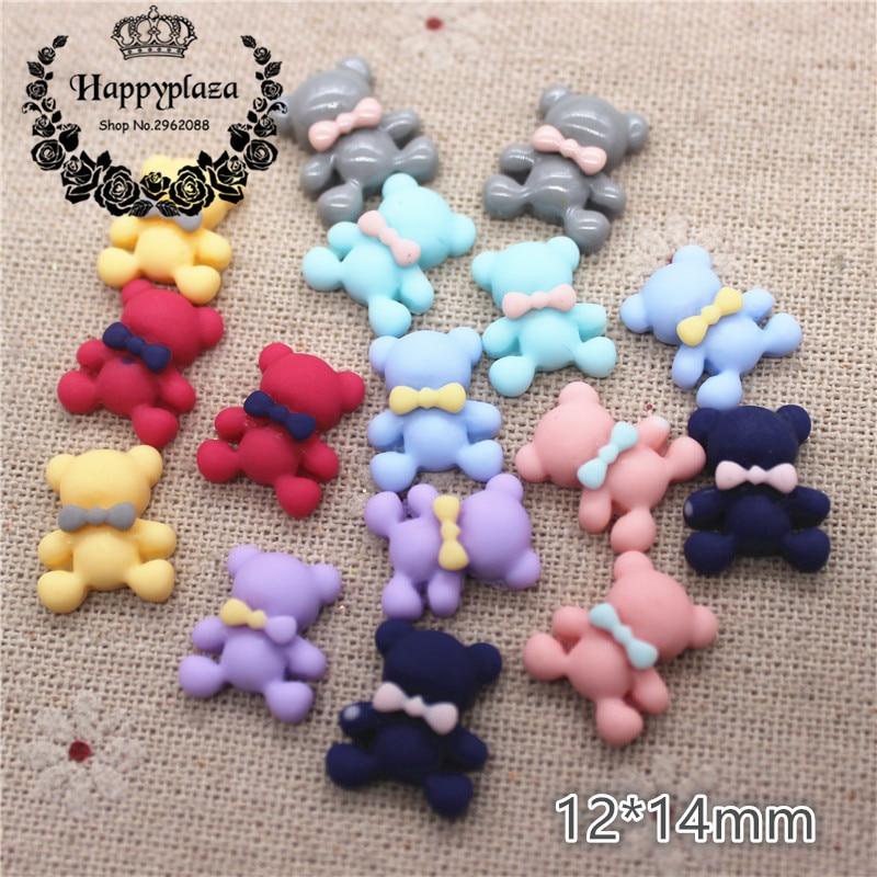 50PCS Mix Colors Cute Resin Small Bear Flat Back Cabochon DIY Jewelry/Craft Scrapbook Decoration,12*14mm