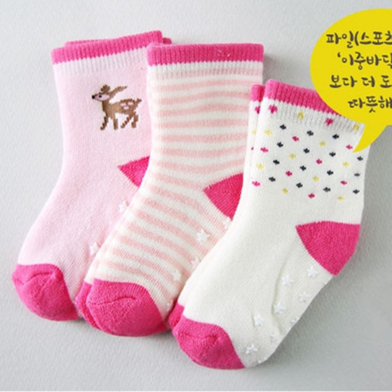 3pairs/lot Kids Socks Baby New Born Boy Girl Casual Winter Meias Infantil Baby Slippers, Anti Slip Socks Floor Children Socks