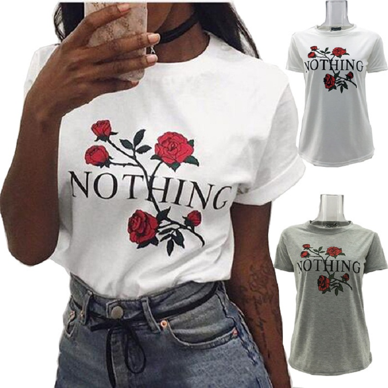 Nothing Letter Print T Shirt Rose Harajuku T Shirt Women 2017 Summer Casual Short Sleeve TShirt