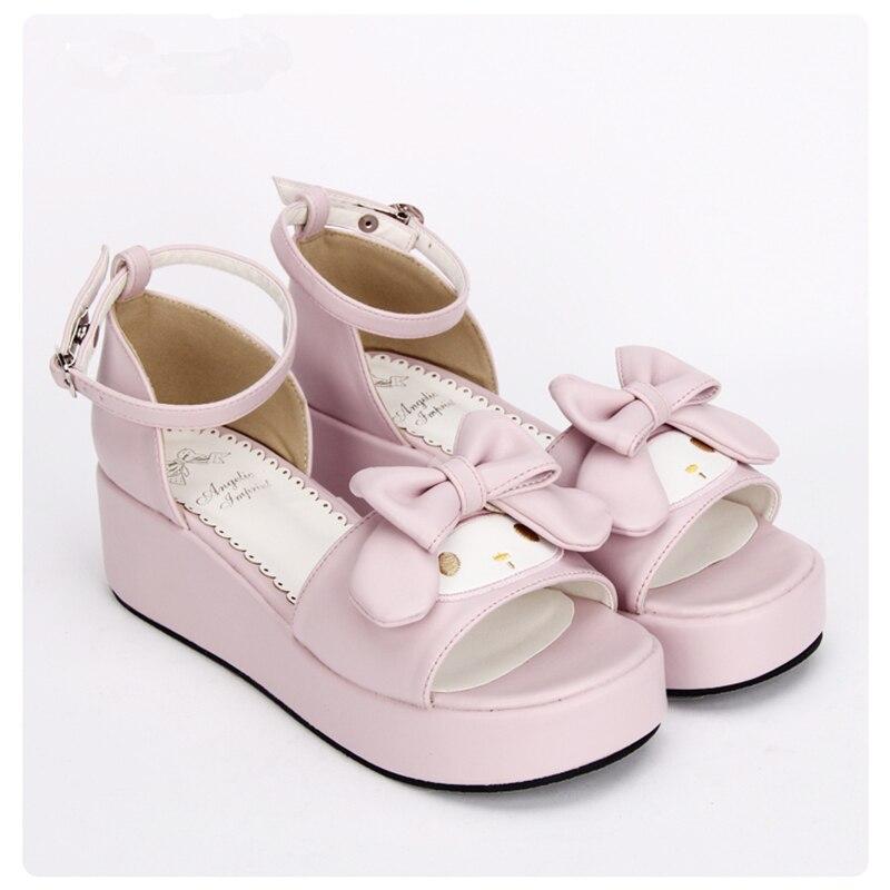 الحلو الوردي الأميرة الفتيات لطيف أرنب صندل أحذية مريحة إسفين لوليتا الصنادل-في الكعب المتوسط من أحذية على  مجموعة 2