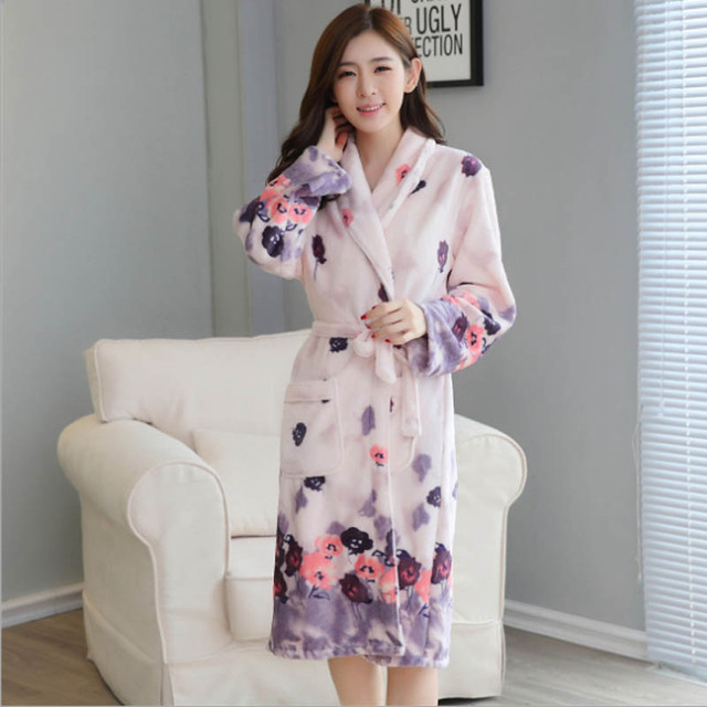 Thickening Flannel Winter Robe Sexy Robes For Women Bathrobe Dressing Gowns  For Women Bathrobes Peignoir Femme 00c922e8ff81