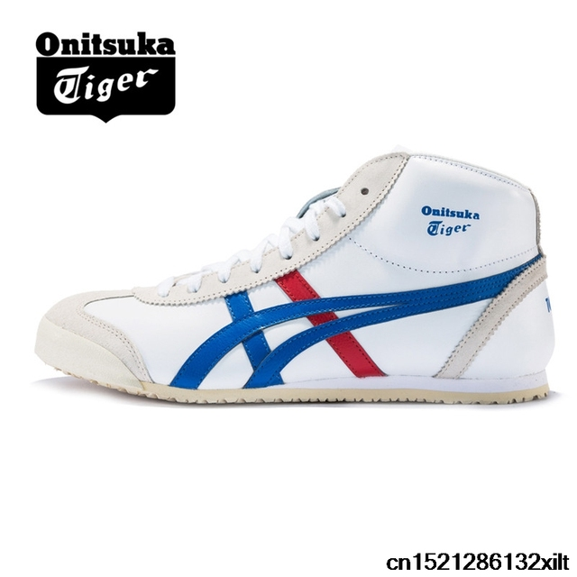 ONITSUKA TIGER Men and Women Breathable non-slip White High-top Shoes  MEXICO66 Badminton shoes DL409-0143 44244585fd39