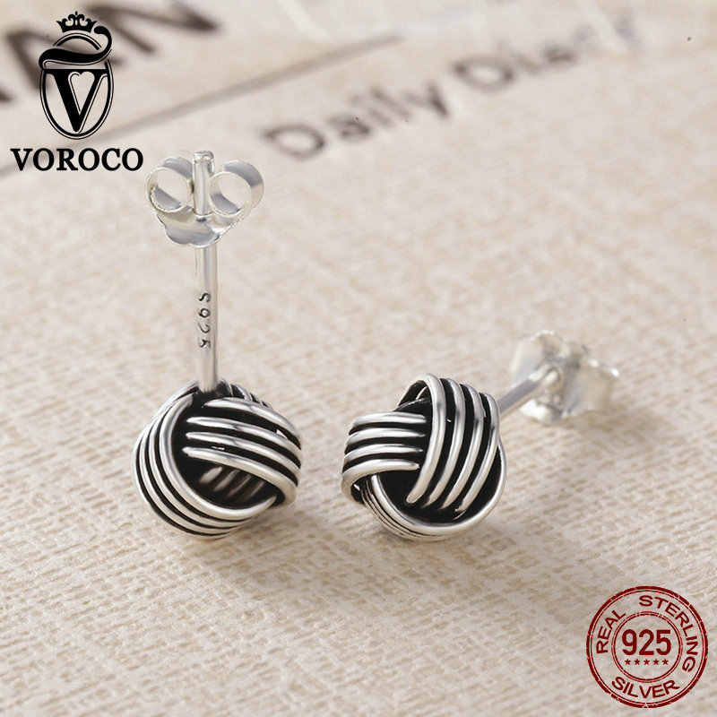 4ab54a438 ... VOROCO Authentic Popular 925 Sterling Silver Weave Classic Push-back  Twisted Stud Earring Women Fine ...