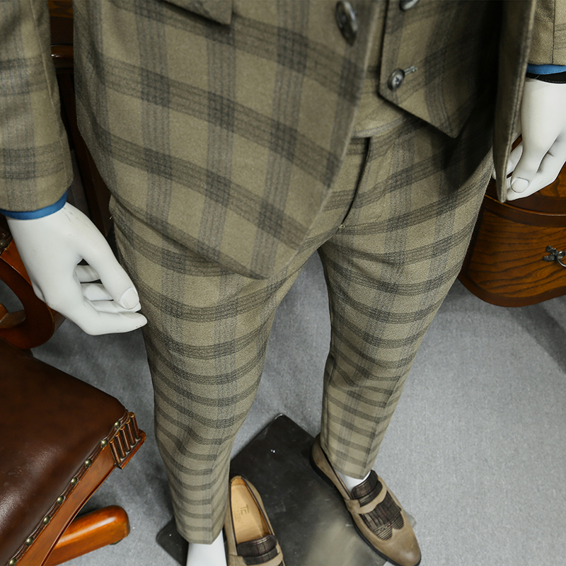 Xm geeki masculino casual terno jaquetas primavera e verão ternos blazers ajuste fino 3 peças ternos masculino khaki escuro xadrez terno 365wt36 - 4