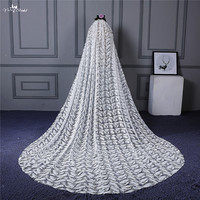 RSV123 Real Pictures Yiaibridal Bridal Accessories Feather Pattern Long Ivory Bridal Veil Lace