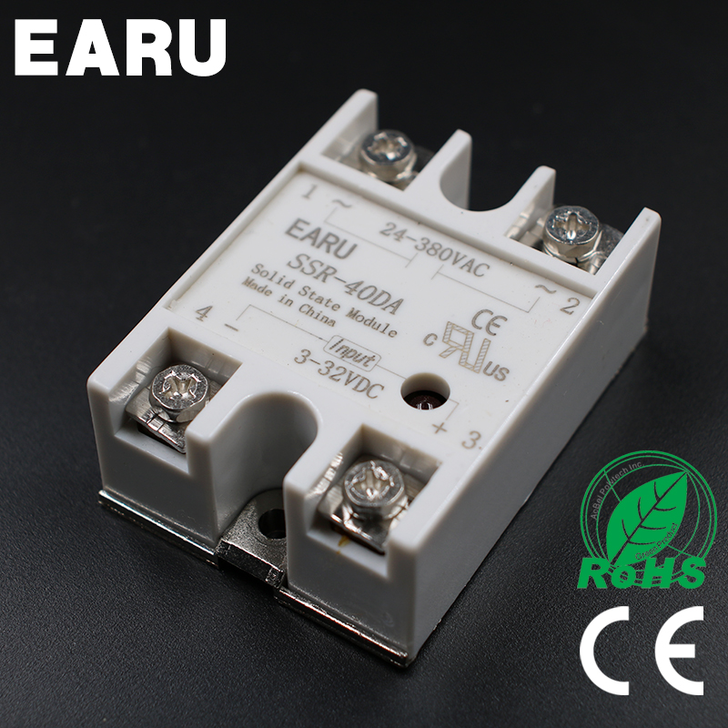 1pc 3-32VDC to 24-380VAC SSR-40DA Solid State Relay Module SSR-40 DA SSR 40A for PID Temperature Controller Voltage Transformer 5 60vdc to 3 32vdc 40a ssr 40dd solid state relay module with plastic cover