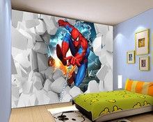 Custom papel DE parede infantil, spiderman cartoon murals for children room bedroom setting wall textile cloth Wallcoverings(China)