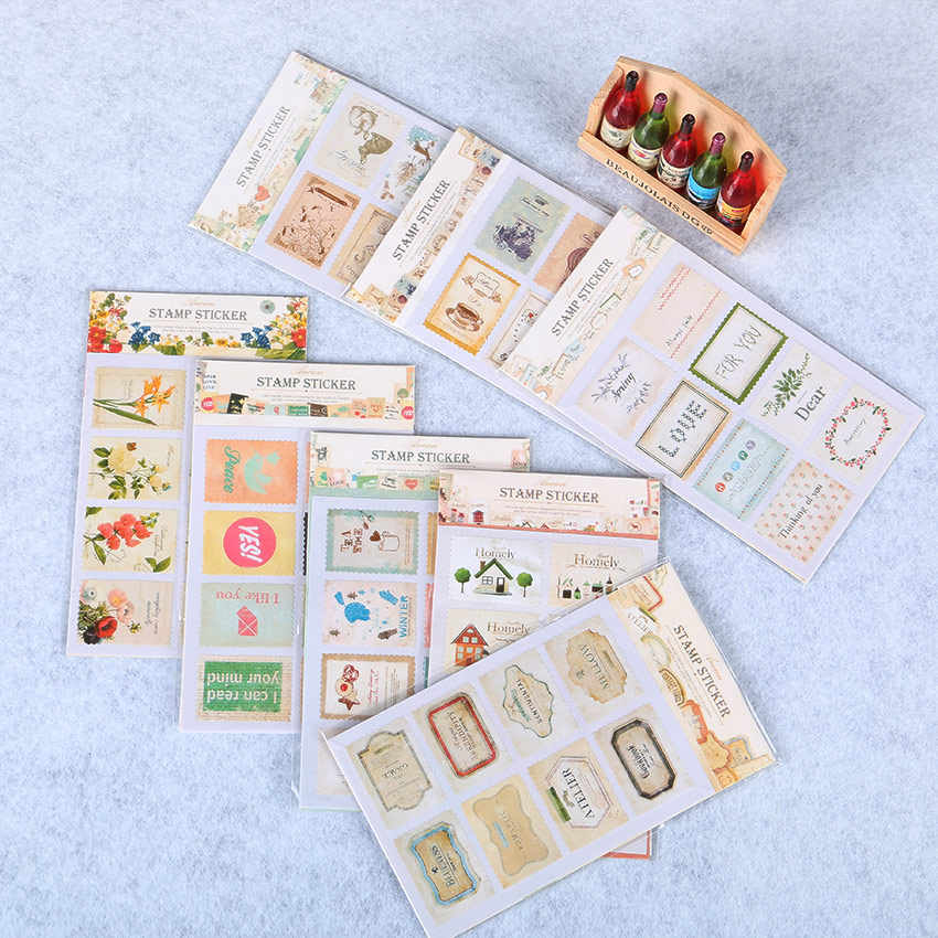 16 PCS/1 Tassen DIY Leuke Stempel Stickers Eiffeltoren voor Decor Scrapbooking Dagboek Album Scrapbooking Envelop Briefpapier Sticker