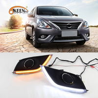 OKEEN 2x Car LED Daytime Running Light for Nissan Almera Latio Sunny Versa 2014 2015 2016 2017 DRL White Turn Signal Light Amber