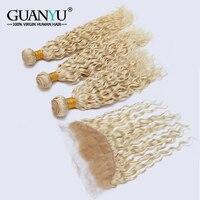 Guanyuhair 613 блондинка перуанский вода волна пучки с фронтальной предварительно сорвал Remy Пряди человеческих волос для наращивания естественн