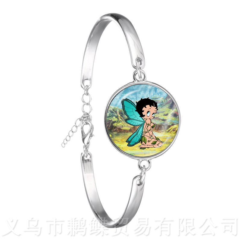 The Betty Boop With Wings Glass Dome Bracelet Women Men Jewelry <font><b>Sexy</b></font> Betty Boop Charm Bangle Jewelry <font><b>Accessories</b></font> Christmas Gift image