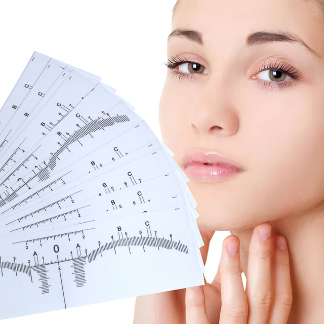 100 pcs Microblading Disposable Accurate tattoo Ruler sticker Sticker stencils Permanent Makeup Tebori Eyebrow shaping Tools
