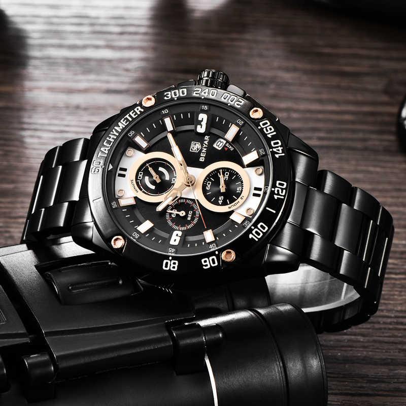 BENYAR גברים של שעונים זהב שעון גברים קוורץ שעון צבאי Wriswatch Mens למעלה מותג יוקרה הכרונוגרף שעון Relogio Masculino