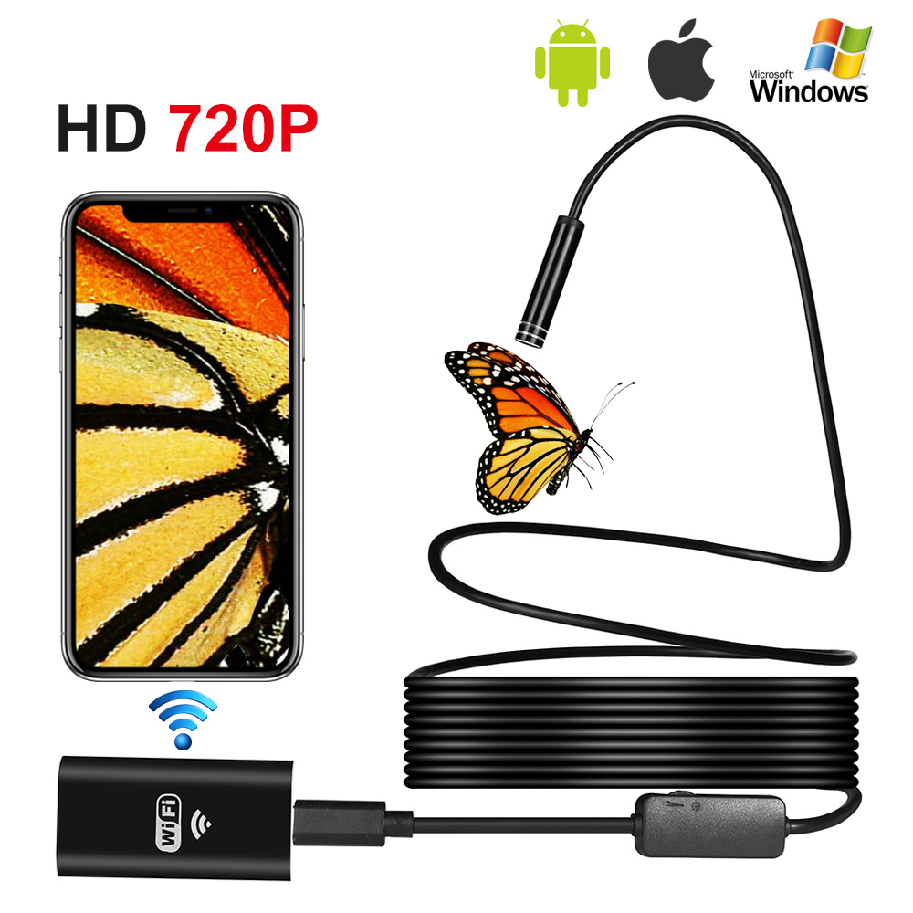 1M2M5M Snake Wire 720P 8mm lens IP67 Waterproof WIFI Endoscope Borescope Inspection Micro USB Camera Mini Camera For Android IOS1M2M5M Snake Wire 720P 8mm lens IP67 Waterproof WIFI Endoscope Borescope Inspection Micro USB Camera Mini Camera For Android IOS