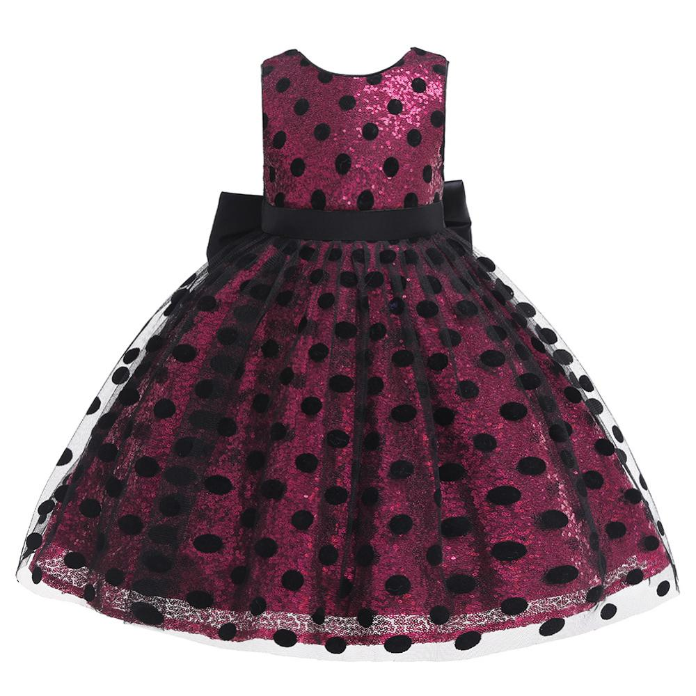 Girls Sequin Dress 2019 Fashion Kids Clothes Children Wedding Party Princess Dresses For Baby Girl Dot Bow Backless Tulle Dress in Dresses from Mother Kids