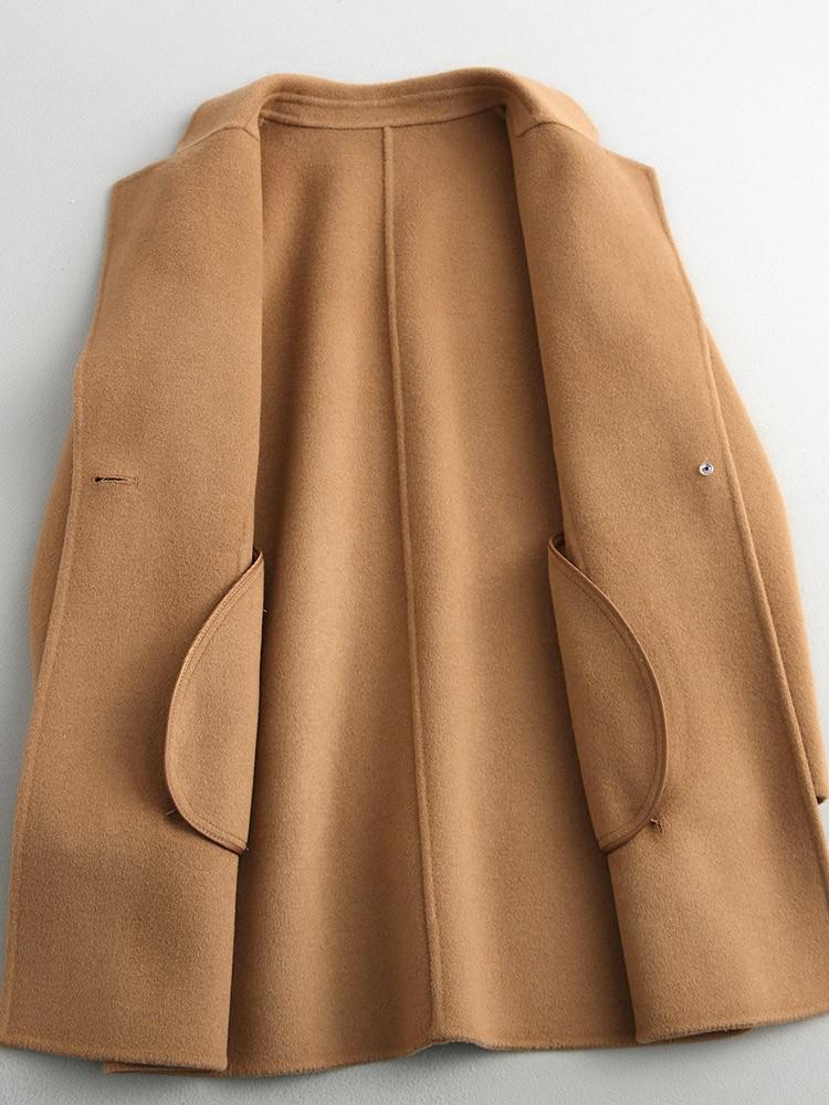 Mode Outwear Slim Long Manteau Nouveau Feminino Inverno Hiver dark Lx2094 Fit Chaud Automne Tan navy Revers Femmes Light Laine Coffee 2018 Casaco Pardessus nO84xAzF4