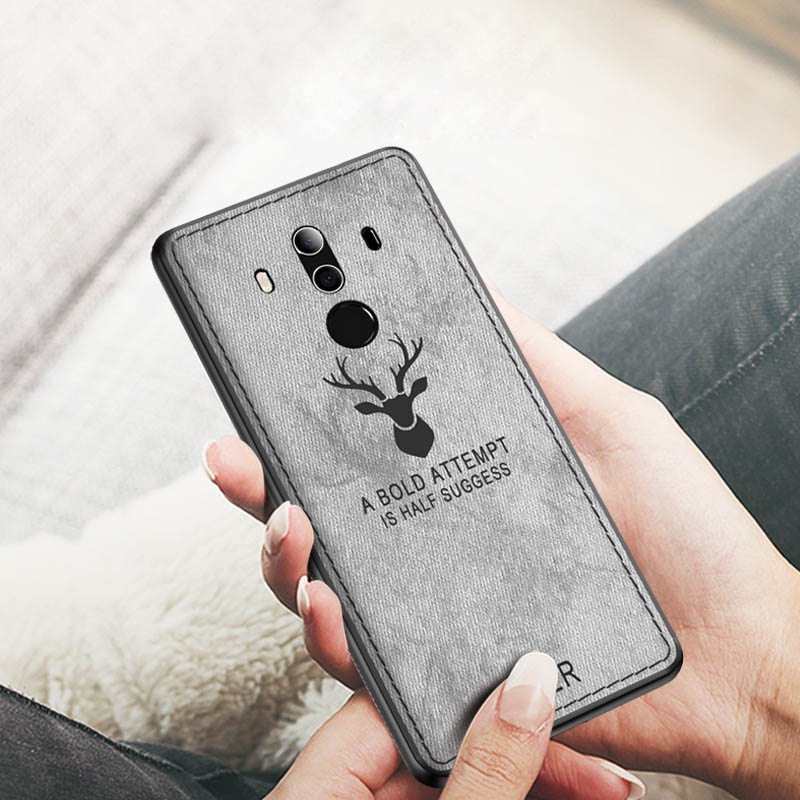 Huawei Mate 9 Case Cover Mate9 Pro Back Cover Silicone Edge Deer Pattern Fabric Case For Huawei Mate 9 Pro Coque Capas Case