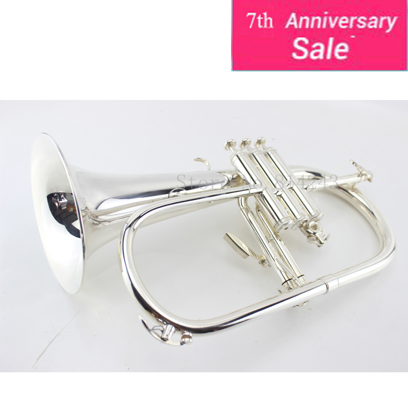 High Quality Musical Instruments Brass Silver Plated Flugelhorn B flat Bb Tune Professional Trumpet Concert Horn Customizable new ab 190s brand quality bb trumpet brass tube silver plated professional musical instruments with case mouthpiece accessories
