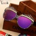 Nuevo Steampunk Gafas de Sol de Mujer de Marca Diseñador Steam Punk Peine Ceja Espejo Recubrimiento gafas de Sol Retro de Gran Tamaño Gafas de Sol