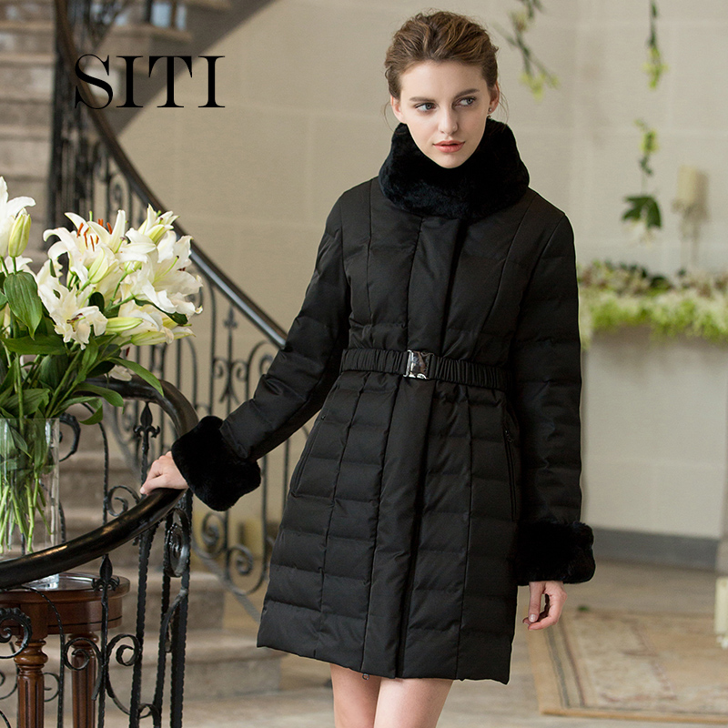 2017 new hot winter woman Down jacket Coat Parkas Rex rabbit Fur collar Slim Mid long Cold Windproof black plus size Luxury