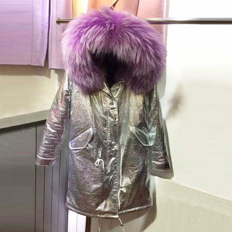 Sliver Leather waterproof purple long women jacket big collar winter coat