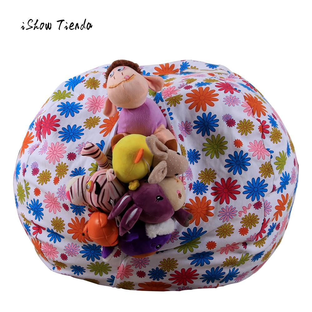 kids stuffed animal plush toy storage bean bag soft pouch stripe fabric chair cute printing kids. Black Bedroom Furniture Sets. Home Design Ideas