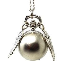 Fashion punk steampunk quartz pocket real watch pendant gold silver snitch wings necklace for men women hot movie souvenir