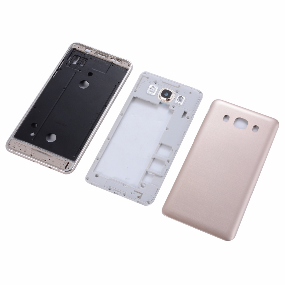 Original Housing Middle Frame+Side Button+Battery Back Cover For Samsung Galaxy J7 2016 J710 Camera lens glass ...