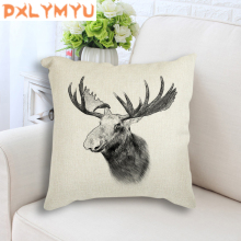 Decorative Cushion Deer Bear Wild Boar Zebra Dog Wolf  Animal Linen Pillows Square Pillowcase For Sofa