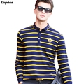 Dophee 2017 Spring Striped Long Sleeve Men's POLO Shirt Brand Plus Size Small Lapel Cotton Casual Shirt